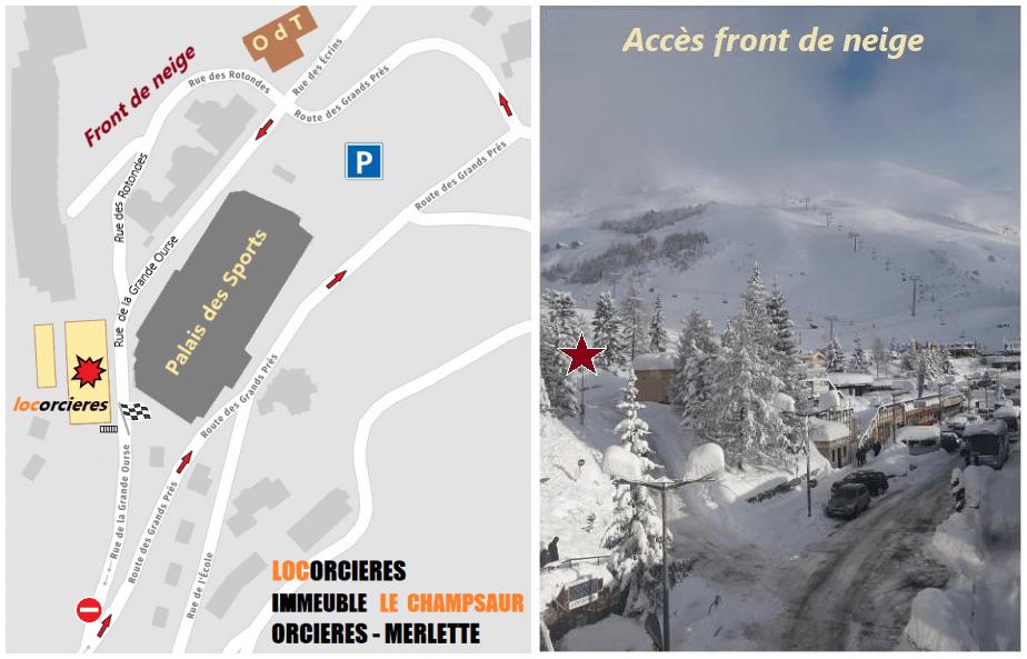 Plan et accès front de neige rue des Rotondes à Orcières