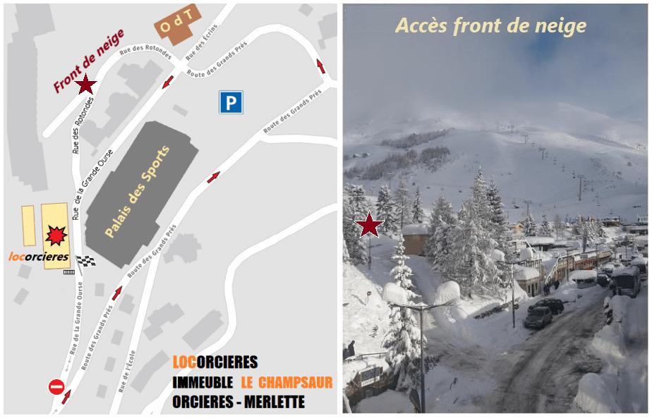 Plan et accès front de neige à Orcières